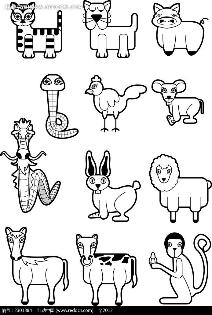 十二生肖线描稿韩国矢量人物插画图片