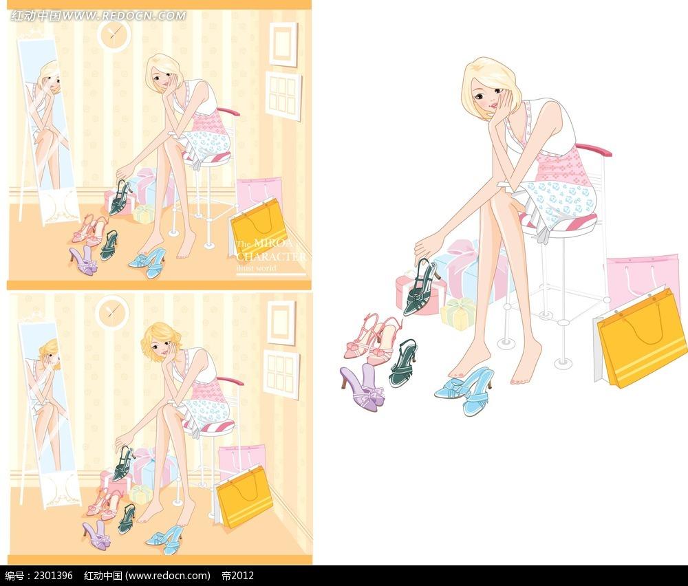 韩国高跟鞋少女插图矢量图