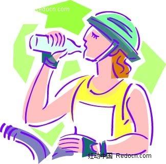 喝水的女子卡通手绘