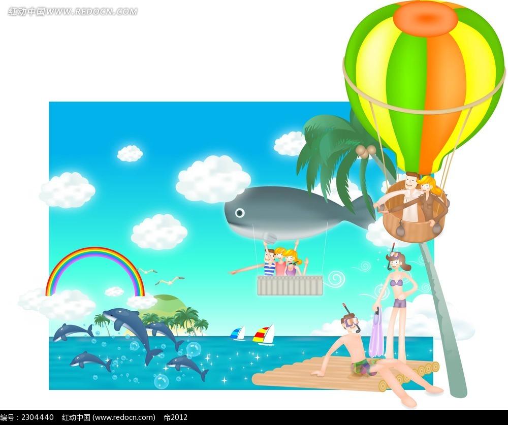 大海小人热气球插画卡通矢量人物插画