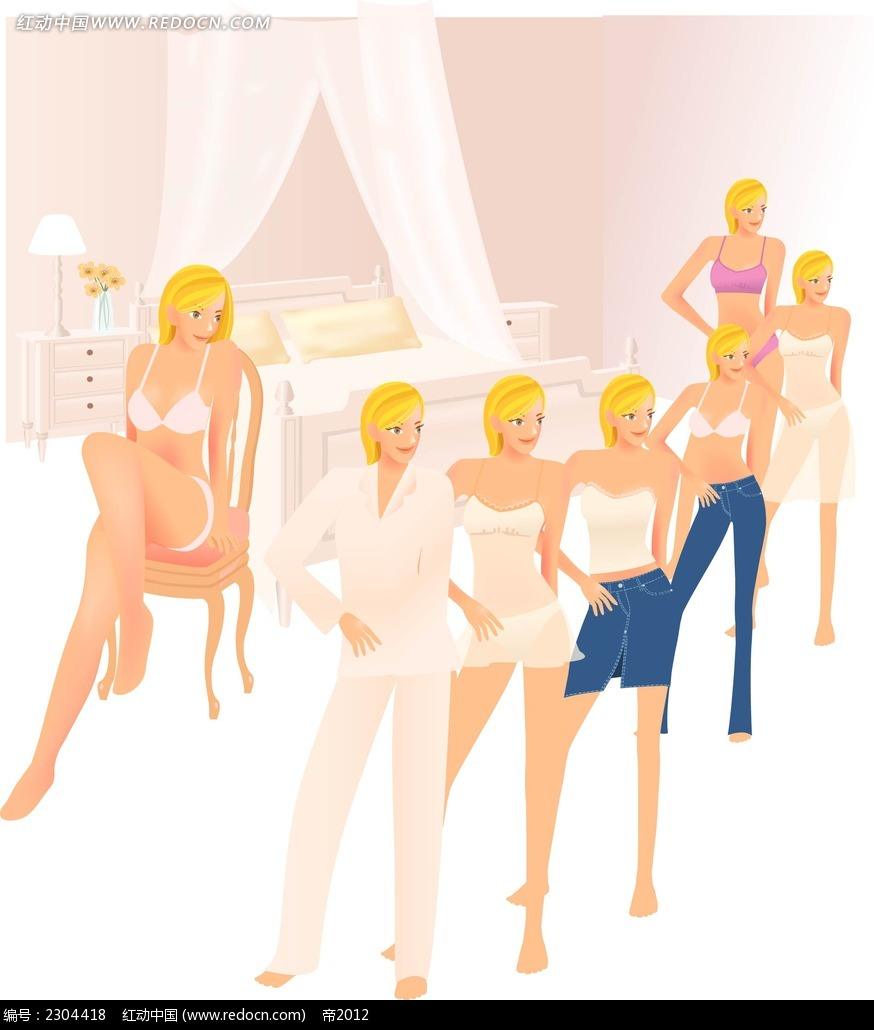 性感长腿美女时尚矢量人物插画ai免费下载_卡通形象