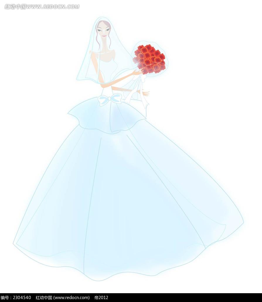 婚纱新娘插画图片