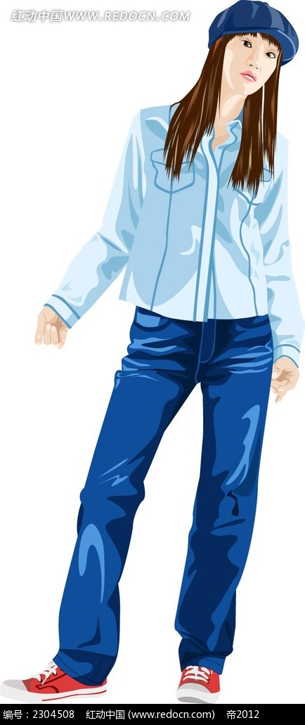站立的牛仔裤女生人物插画