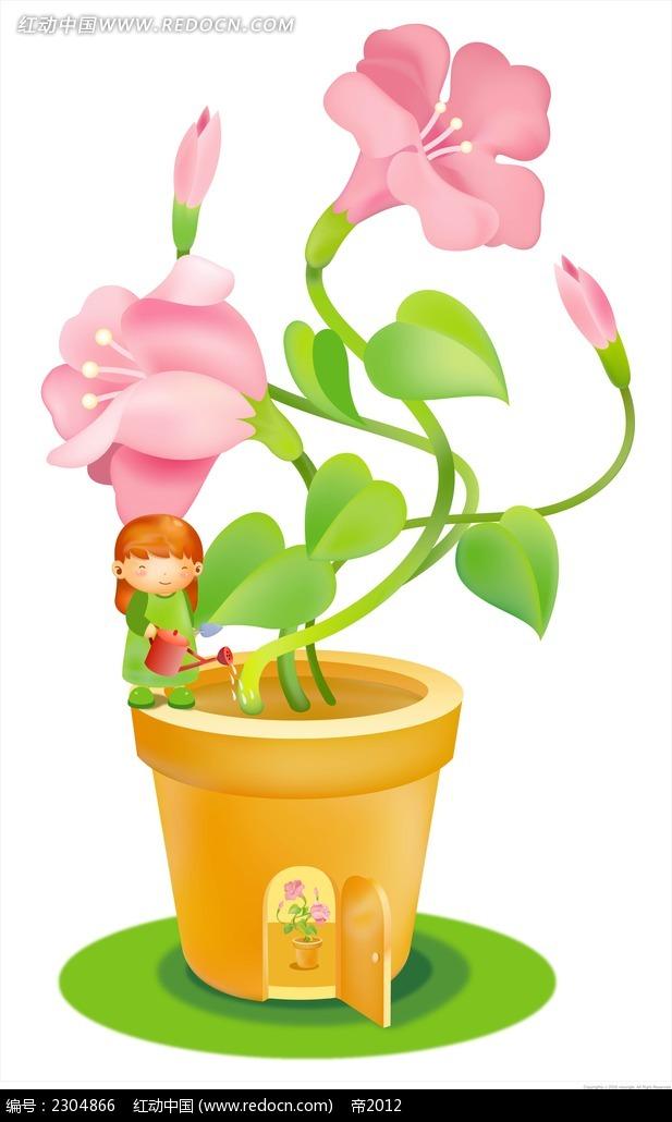 浇花的女孩卡通手绘