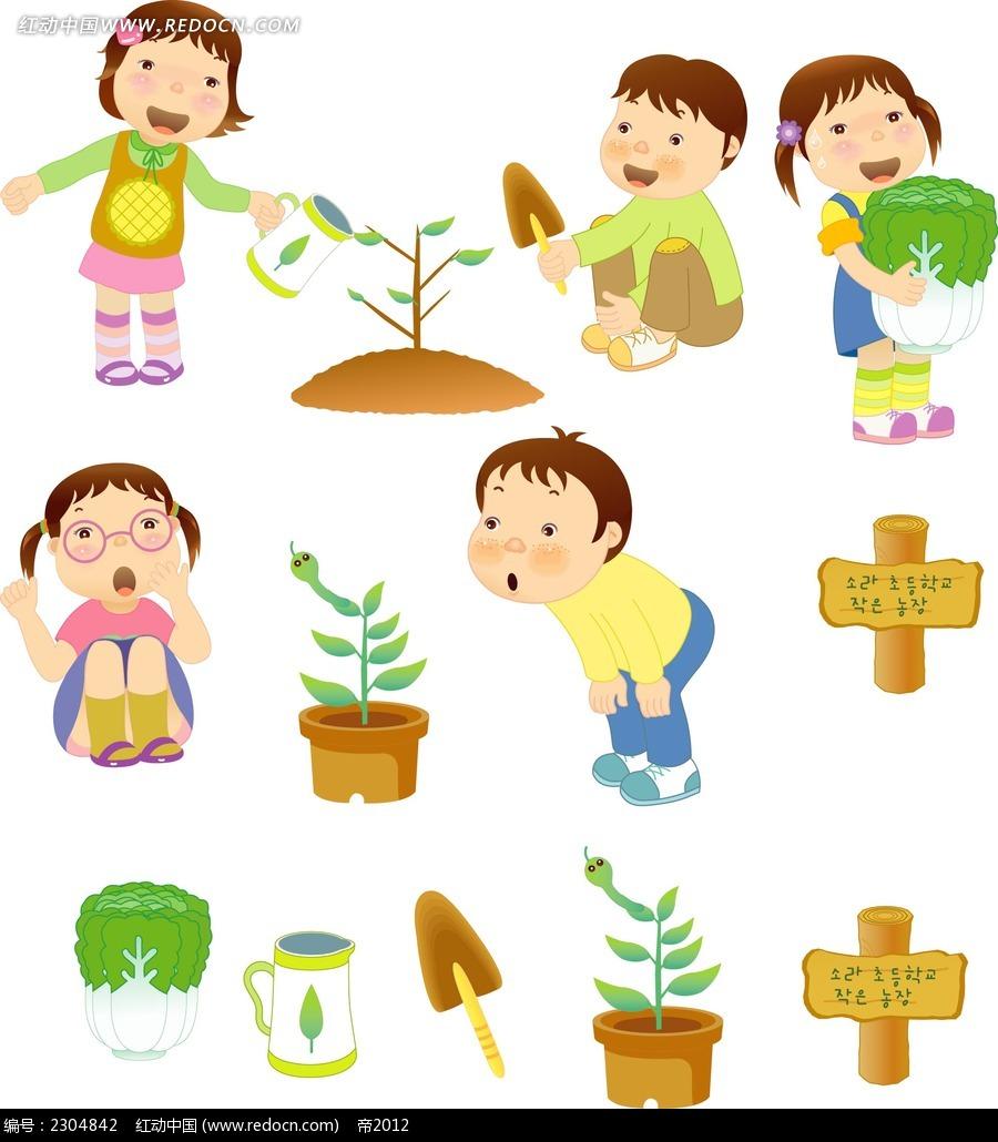 种菜栽树的小孩子时尚矢量人物插画