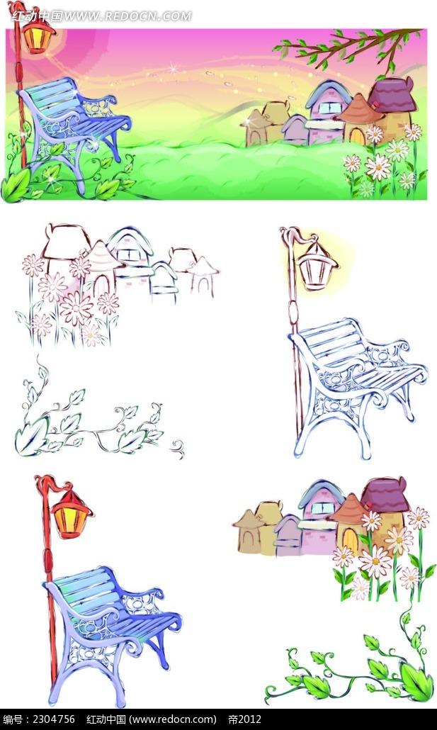 可爱手绘长椅韩国人物插画