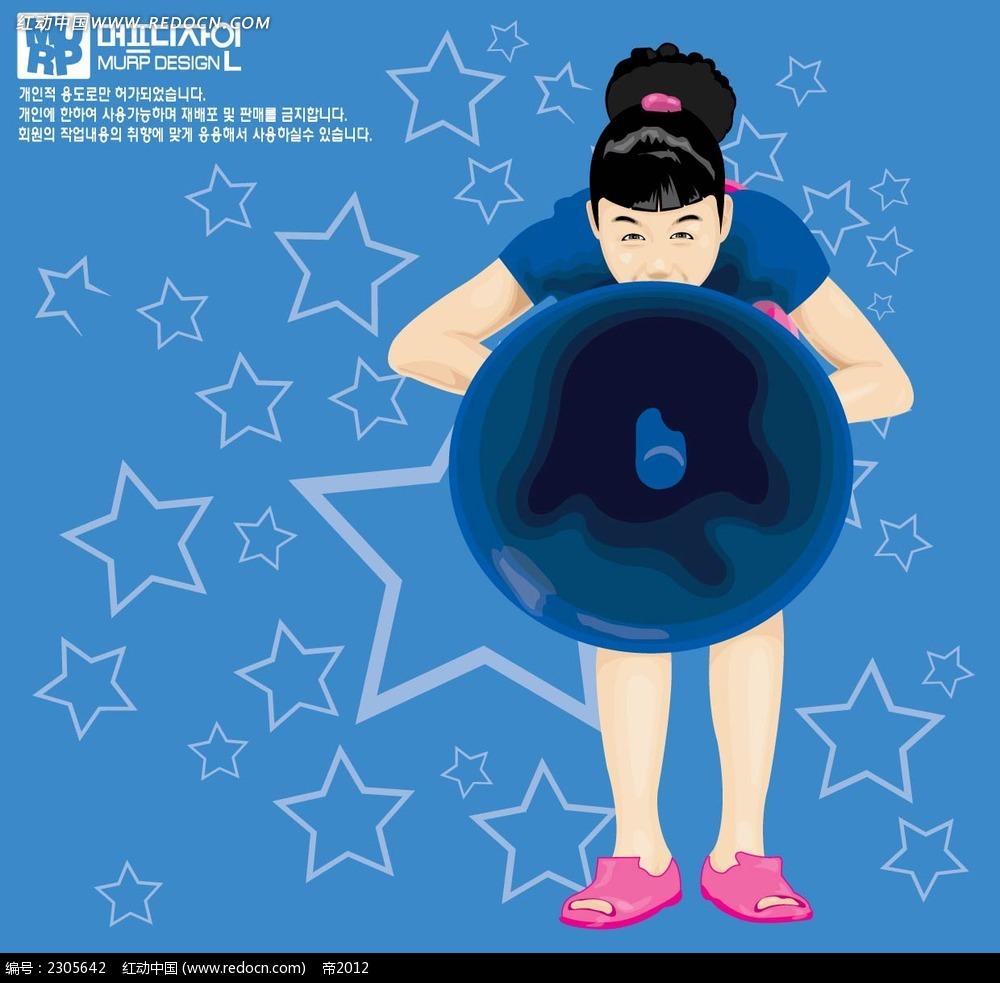 吹气球的女孩韩国插画