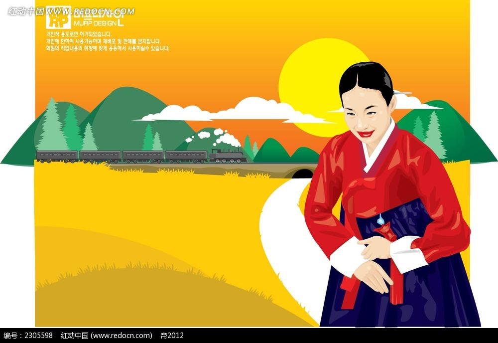 韩国女子卡通手绘