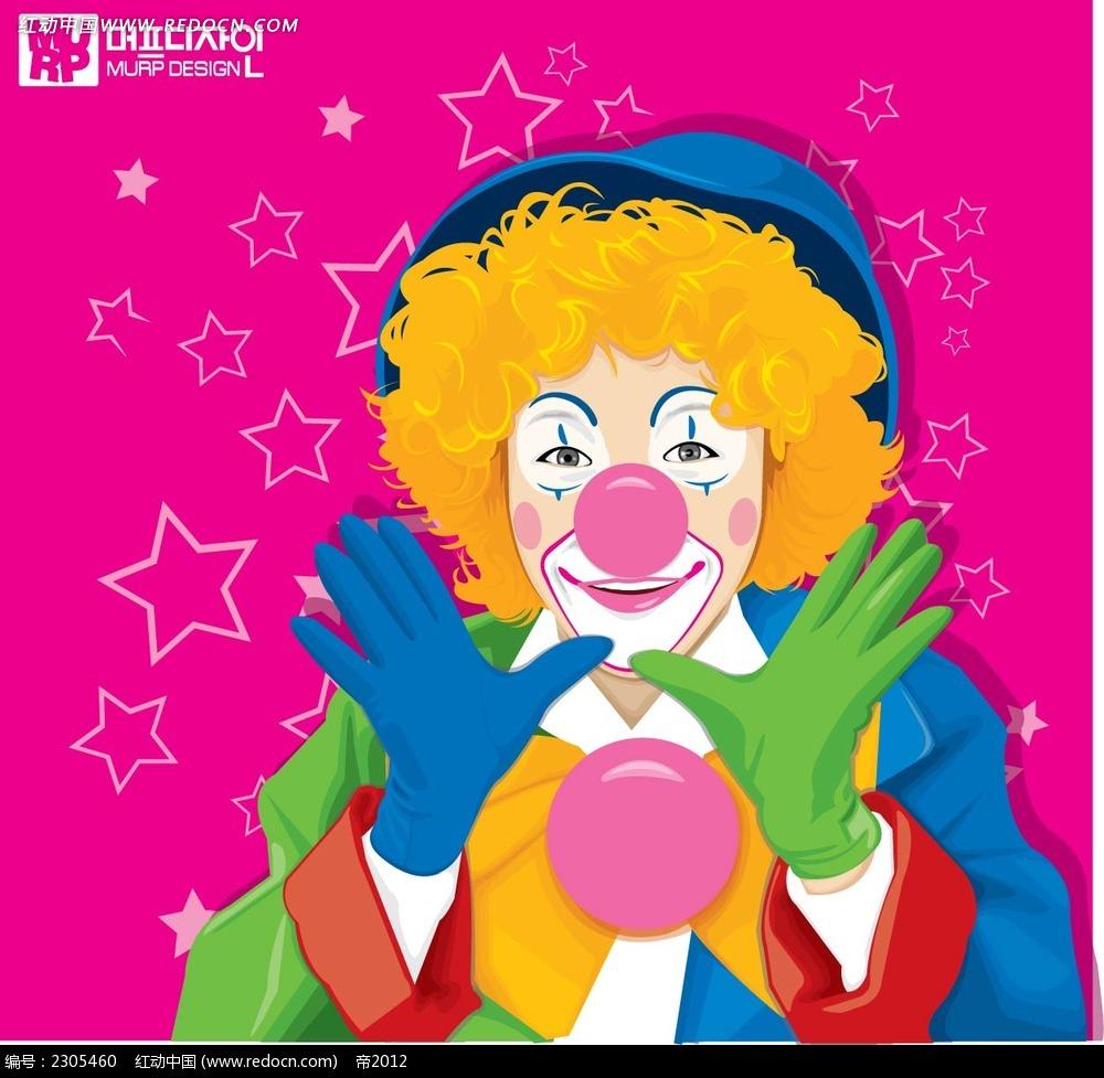 小丑图案卡通手绘