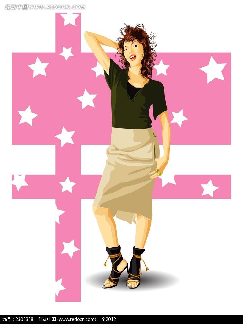 摆姿势的女生人物插画ai免费下载_卡通形象素材