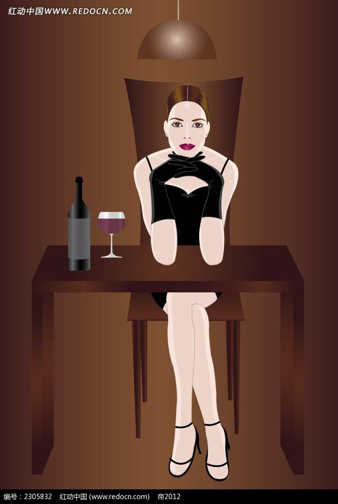免费素材 矢量素材 矢量人物 卡通形象 喝红酒的性感女人韩国矢量人物