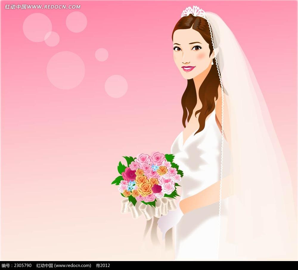 婚纱新娘卡通人物插画