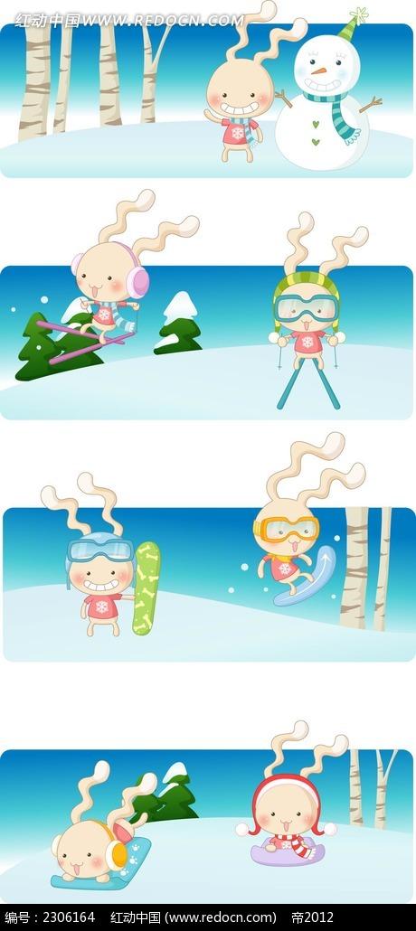 可爱小兔子堆雪人滑雪韩国漫画矢量图