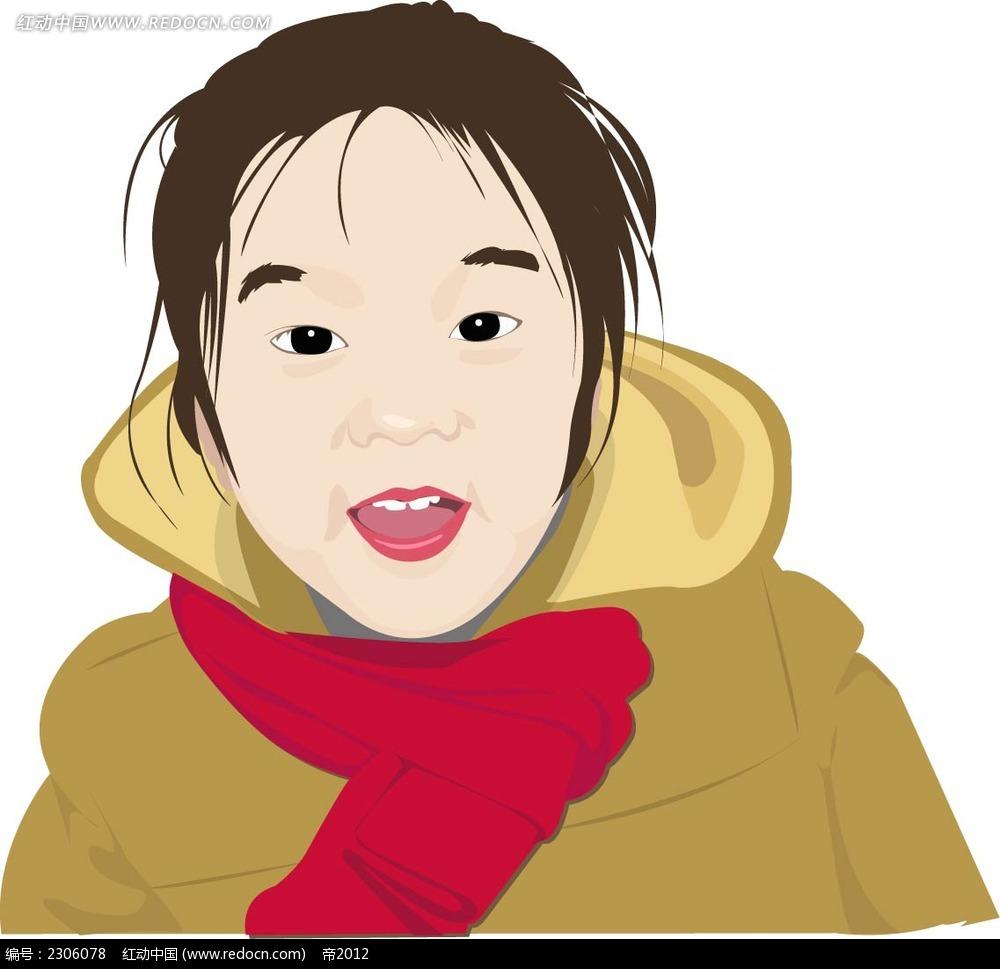 可爱张嘴小女孩韩国矢量人物插画
