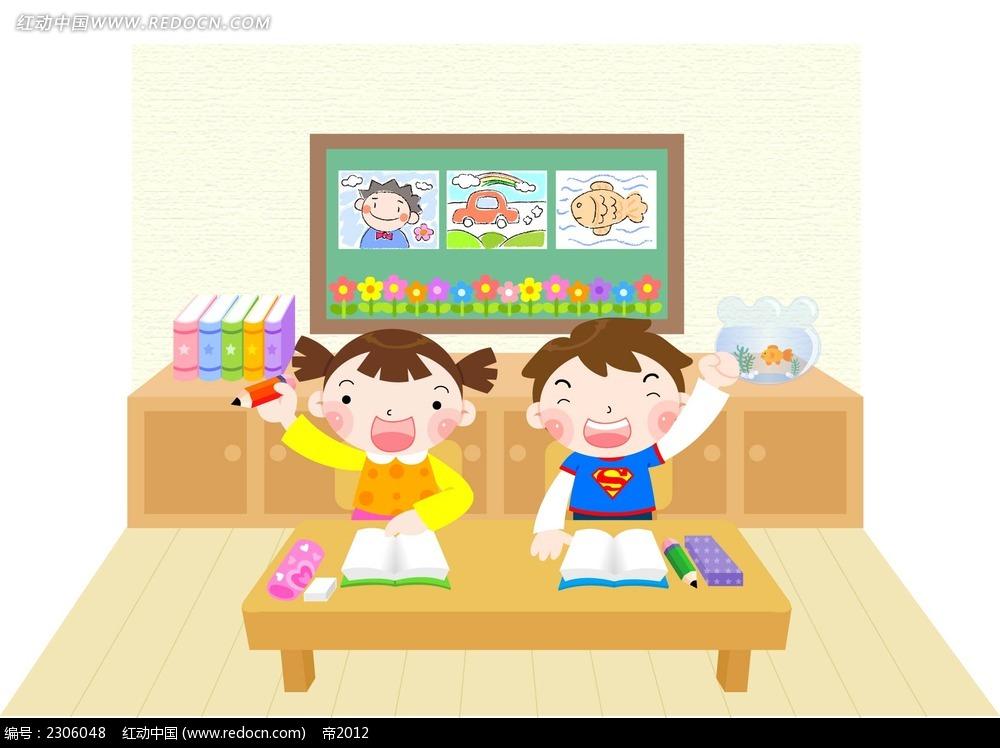 表情-上课举手的小学生韩国矢量漫画AI素材免费下载 编号2306048 红