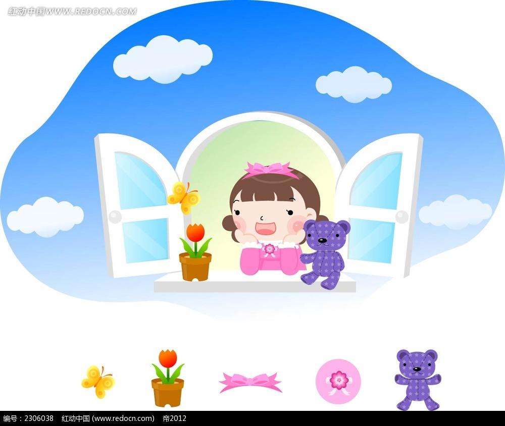 窗前的矢量生韩国清水小女矢量图玲漫画子漫画图片