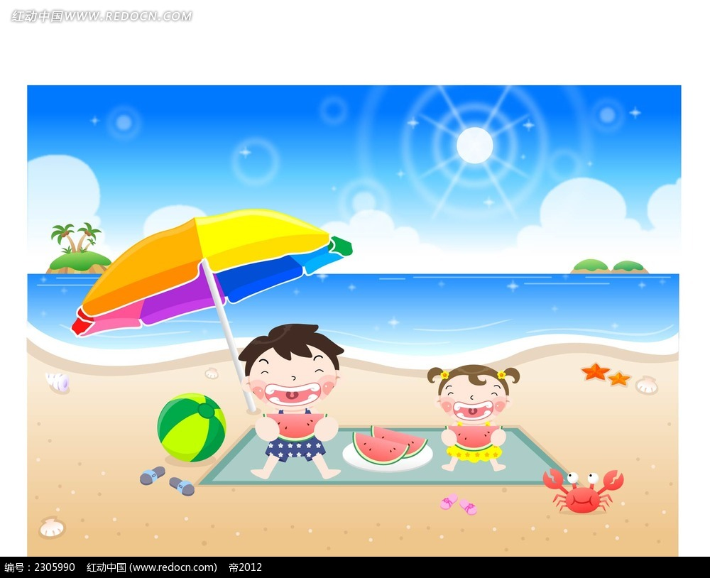 在沙滩上吃西瓜的小孩子时尚插画ai免费下载_卡通形象