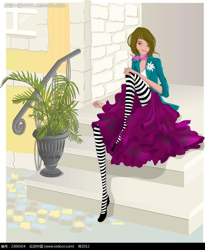 坐在楼梯口的女孩子角色插画