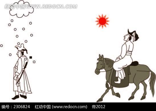 韩国古代骑马时尚矢量人物插画