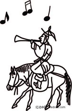 吹唢呐的古代小人时尚矢量人物漫画AI素材免费下载 编号2306818 红
