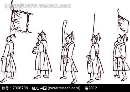 小人仪仗队韩国矢量人物漫画