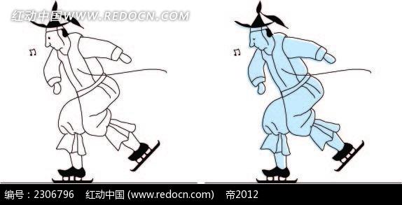 玩滑雪的古代小人韩国矢量人物漫画AI免费下载 卡通形象素材