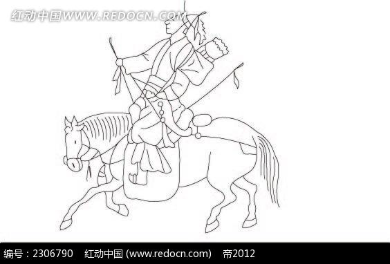 骑马狩猎的古代小人韩国矢量人物漫画图片