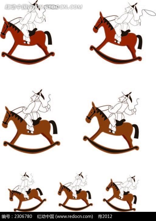 骑木马的古代小人韩国矢量人物漫画AI素材免费下载 编号2306780 红