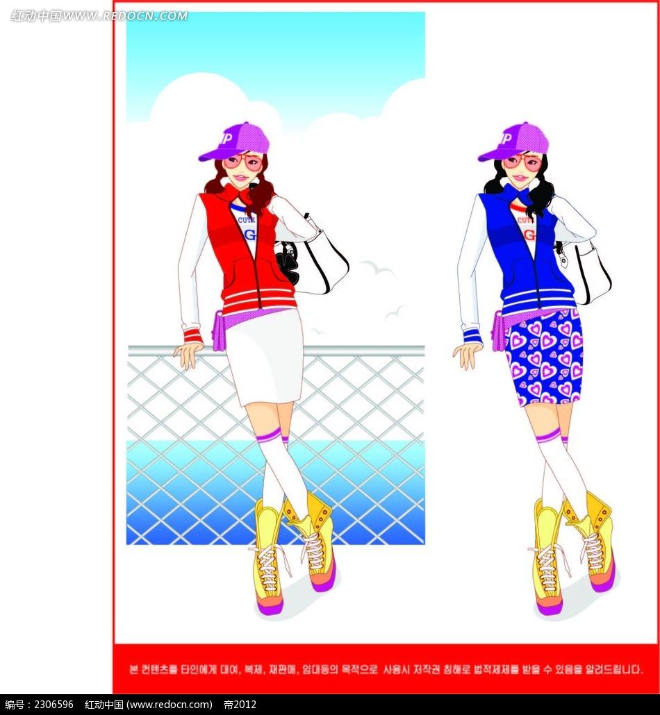 戴鸭舌帽的女生韩国矢量人物插画ai免费下载_卡通形象