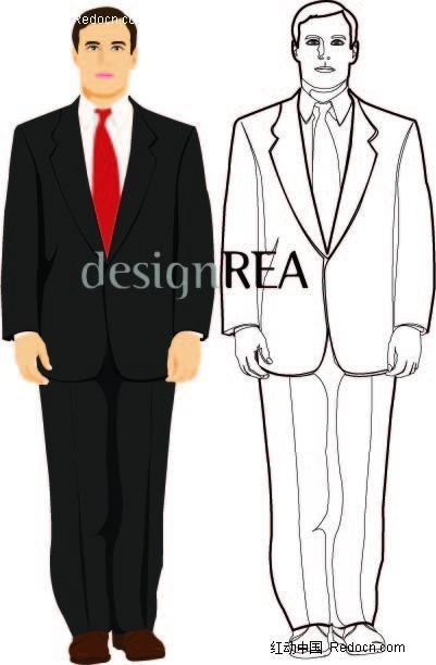 线描西装男人物插画