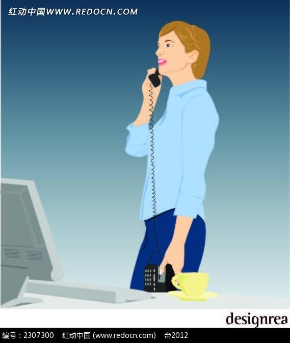打电话的女生人物插画