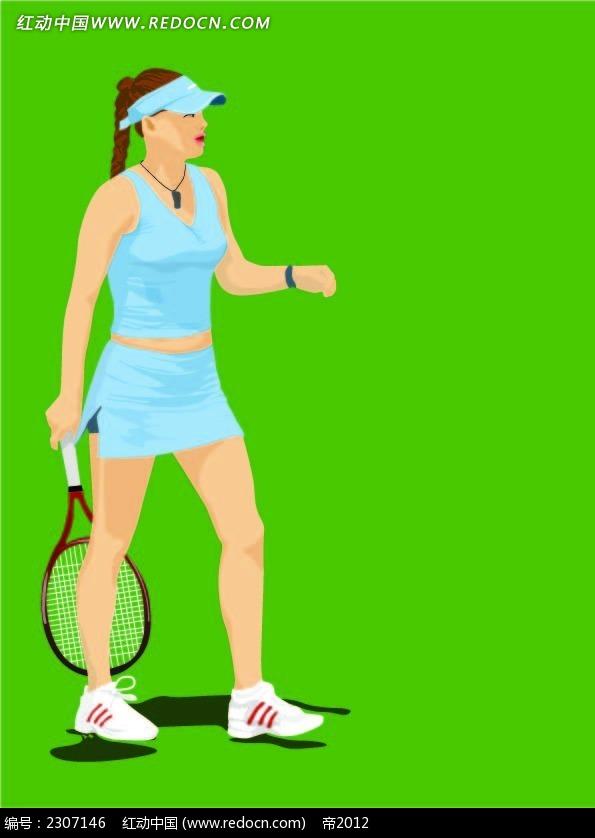 打网球的女生韩国人物插画