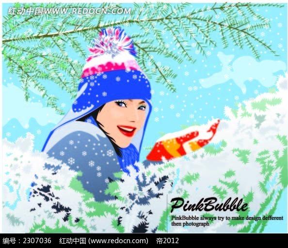 冬季少女人物插画