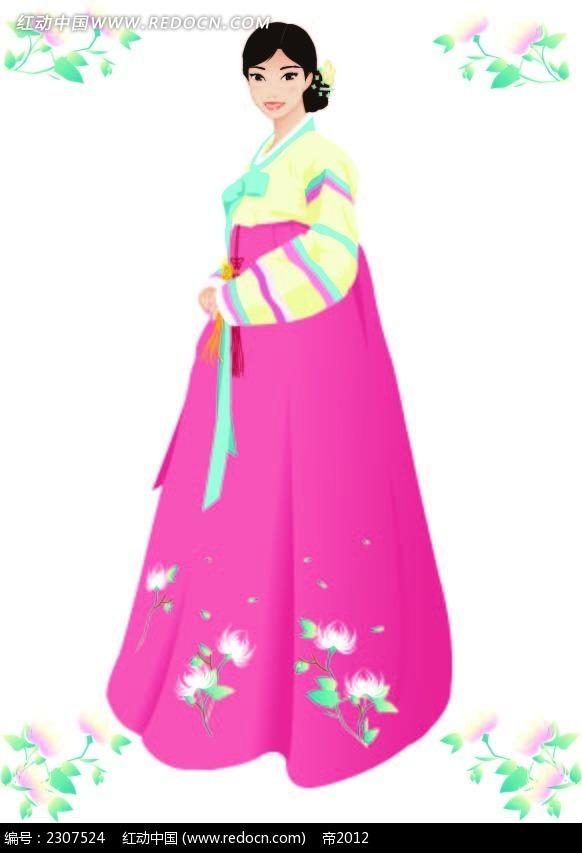 韩国传统服饰少女插图