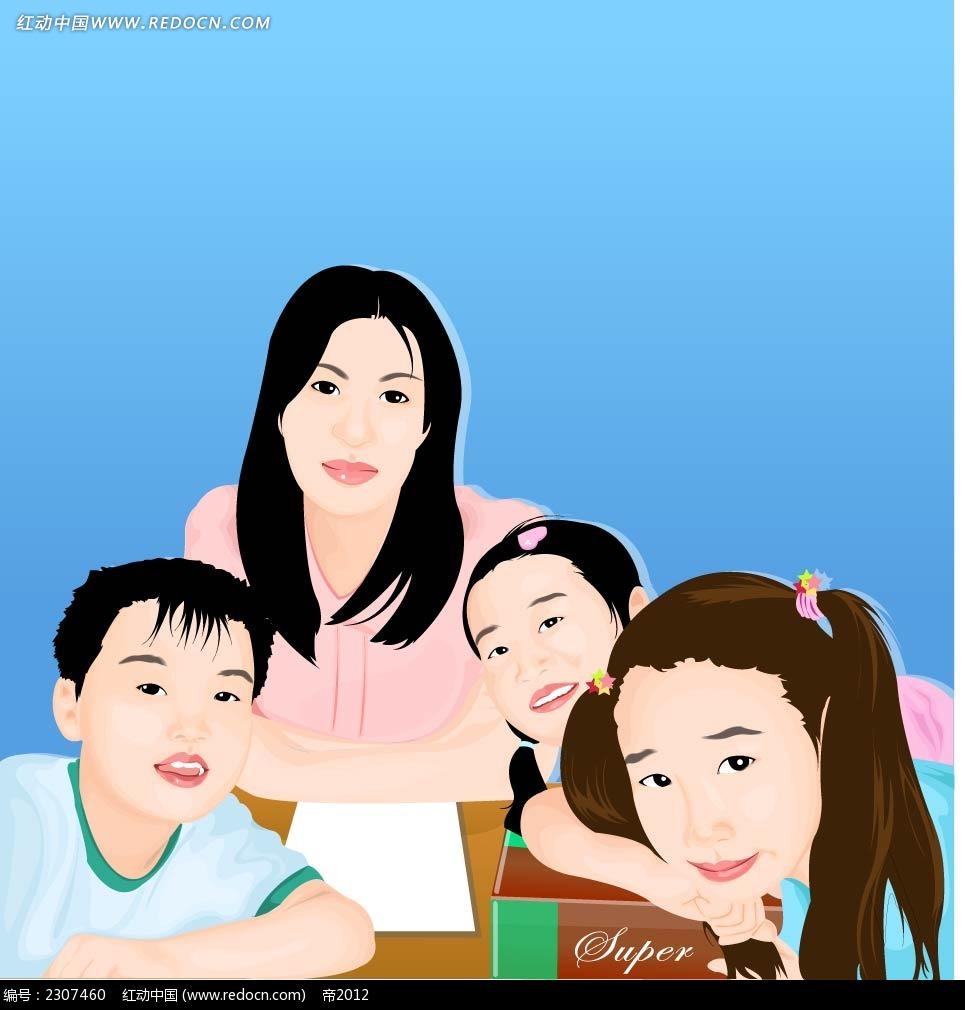 免费素材 矢量素材 矢量人物 卡通形象 小学生和女老师时尚矢量插画