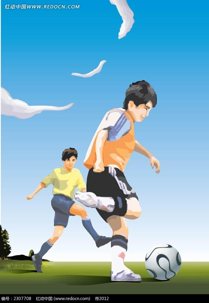 踢足球的小孩子矢量人物插画ai免费下载_卡通形象素材