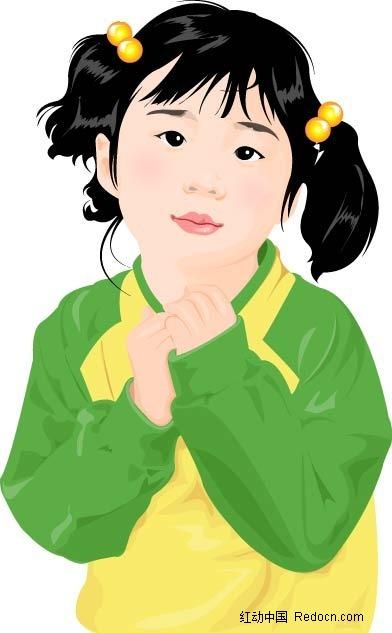 设计 水彩 手绘 人物 角色 矢量图 ai 小孩 开心 儿童 楚楚可怜 卡通