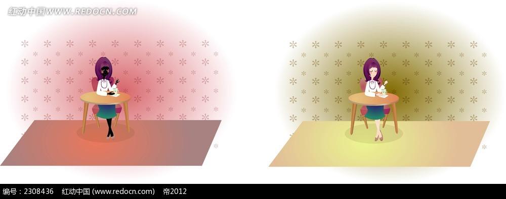 漫画 卡通 漫画 图片 绘画 设计 水彩 手绘 人物 角色 矢量图 ai 桌子