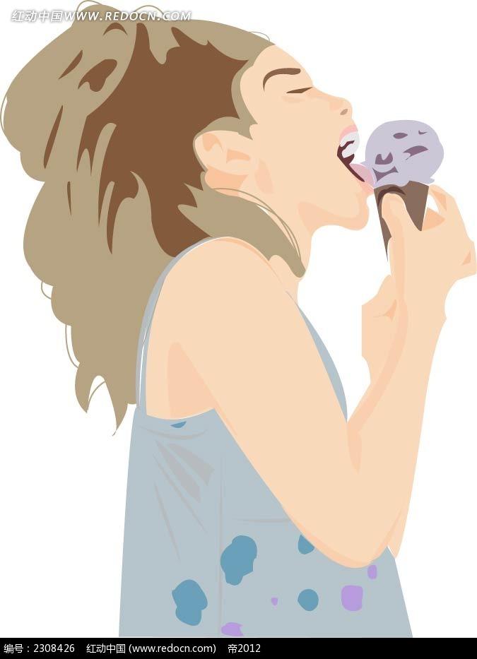吃着冰淇淋的小女孩韩国时尚插图矢量图 卡通