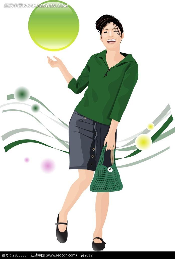 绿色上衣职业装女性韩国时尚风格插画