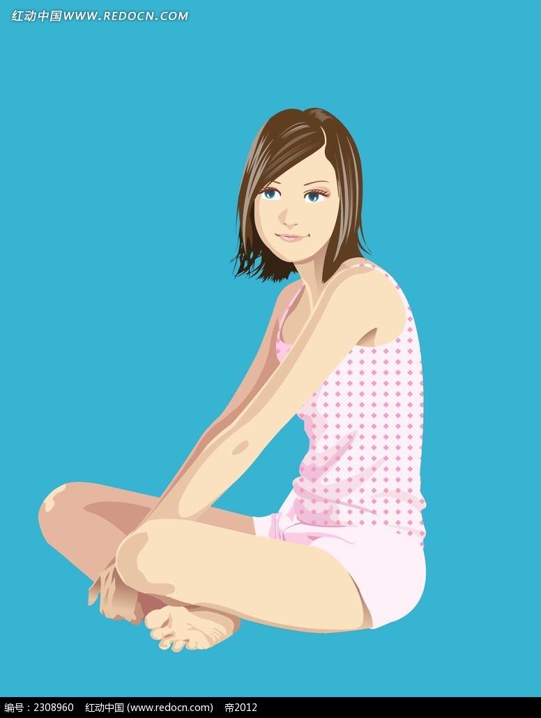 盘腿坐着的我小女孩韩国时尚风格插图吧AI素材免费下载 编号2308960 红动网