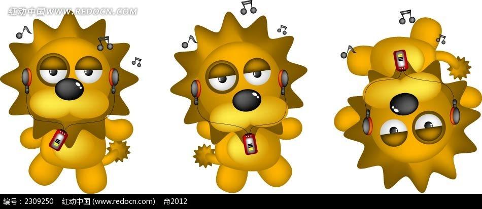 听音乐的狮子卡通韩国插画图片