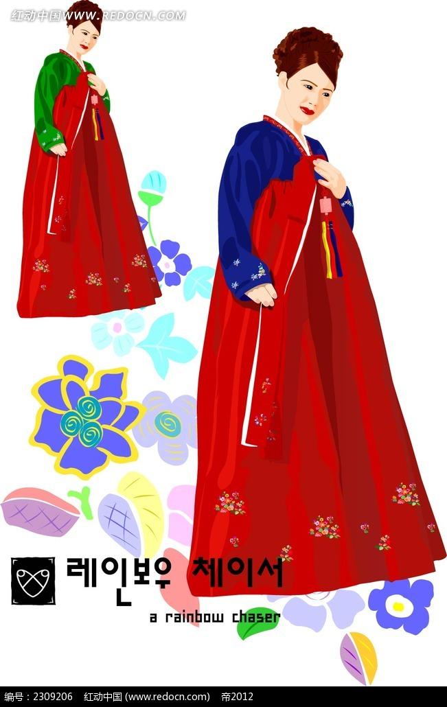 传统韩服女性插图图片