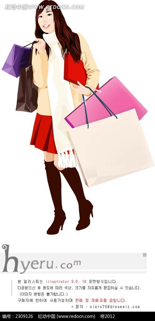 去购物的女生人物插画ai免费下载_卡通形象素材