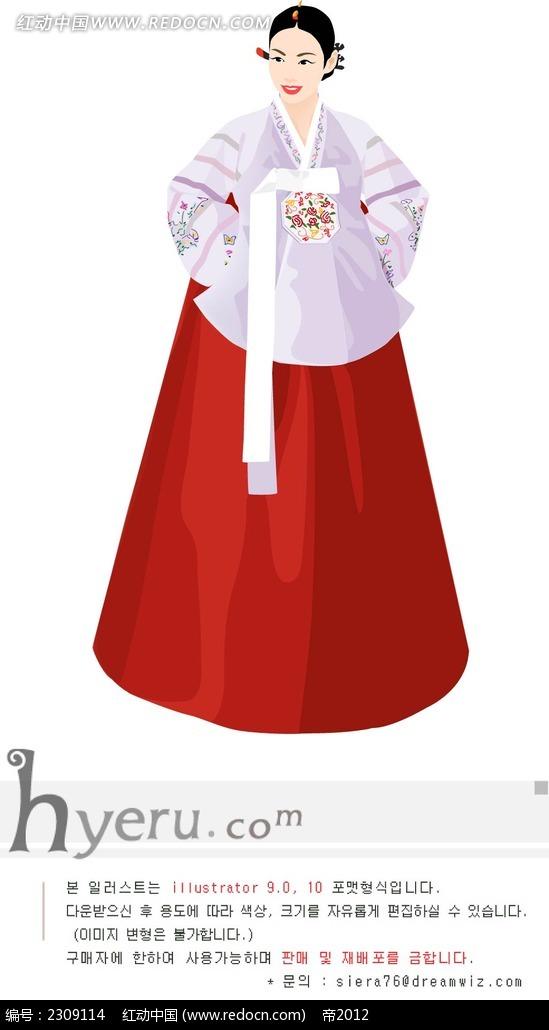 韩国传统妇女人物插画
