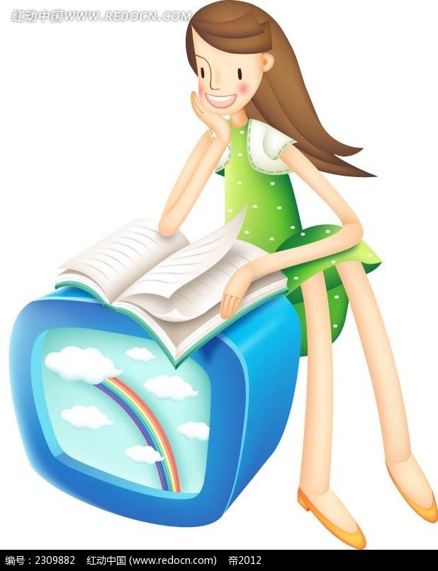 看书的女孩时尚城市图片矢量图ai免费下载_卡通形象