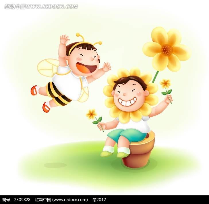 小蜜蜂女孩和向日葵男孩温馨少儿插画
