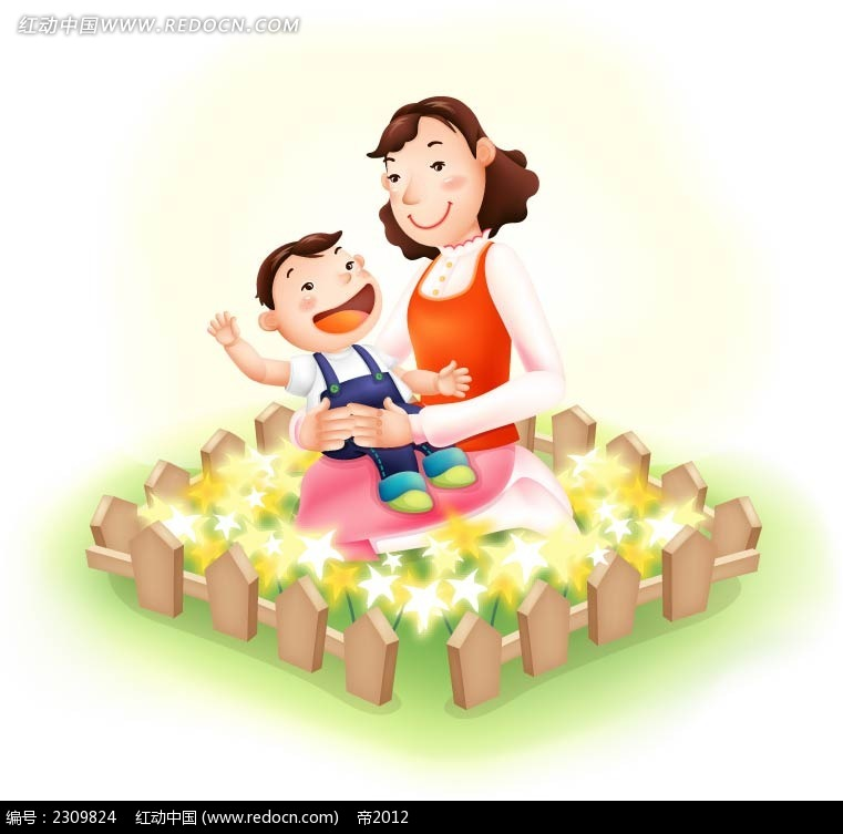 免费素材 矢量素材 矢量人物 卡通形象 妈妈怀抱里的孩子温馨少儿插画