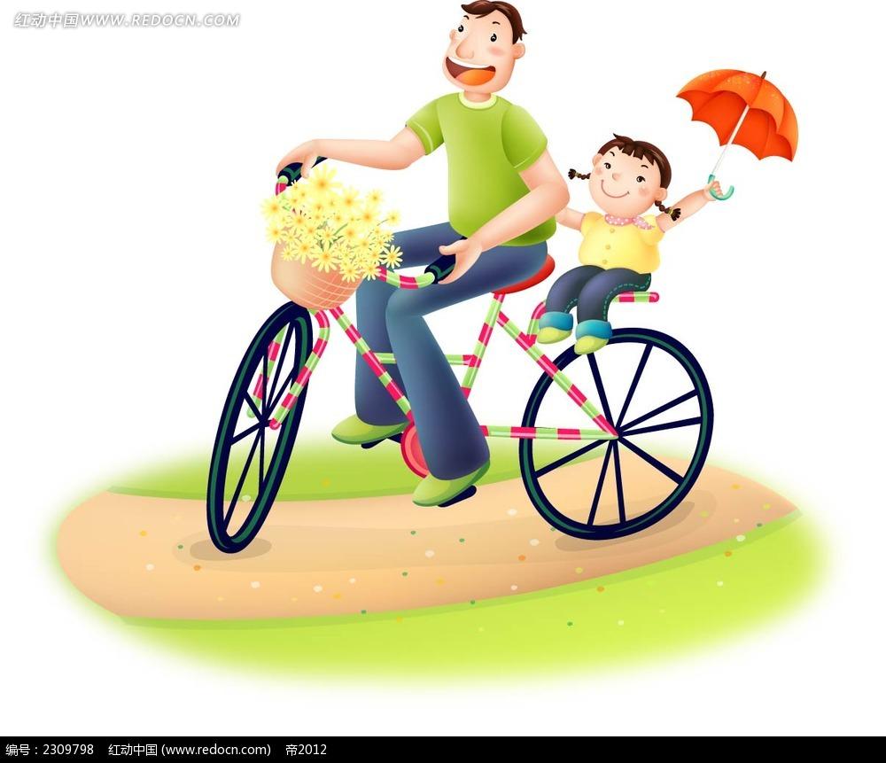 儿童骑车手绘图