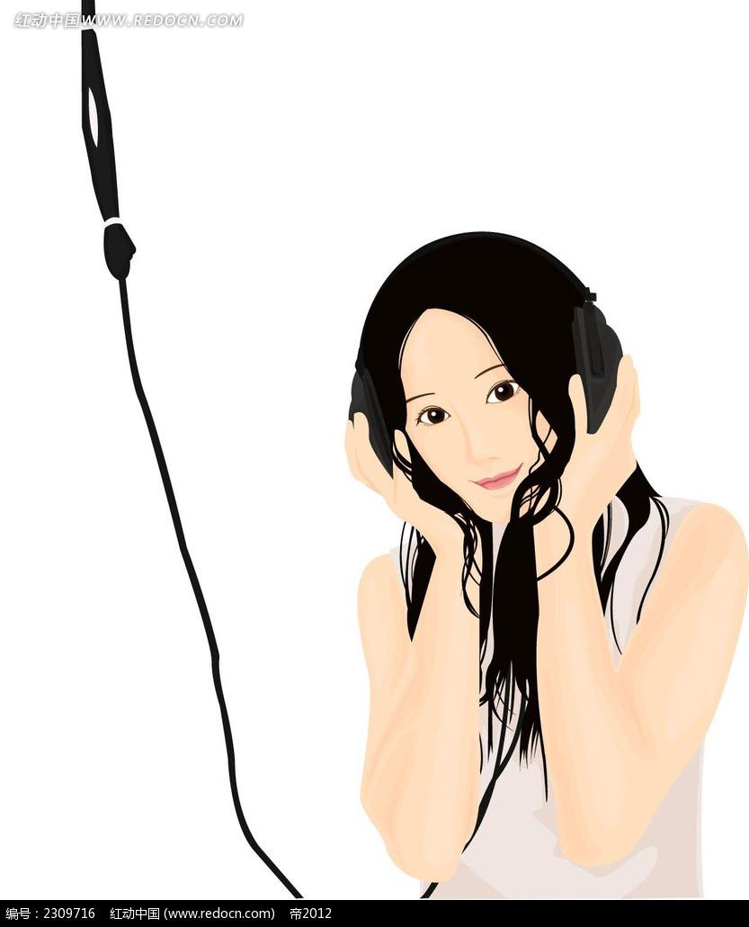 听歌的女孩韩国时尚图片矢量图ai免费下载_卡通形象